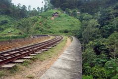 Beautiful tropical landscape with railway trucks in lush of green under hills of Sri Lanka or India. Stock Photos