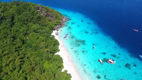 Beautiful Tropical Landscape Sea View at Similan Islands. Aerial HD slowmotion. Phang Nga Province, Thailand stock video