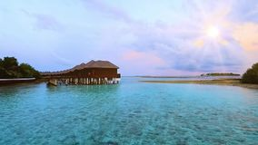 Beautiful tropical Maldives island in sunrise for holiday ,summer, vacation .n stock video