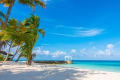 Beautiful tropical Maldives island with white sandy beach and se Stock Photo