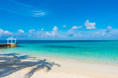 Beautiful tropical Maldives island with white sandy beach and se Royalty Free Stock Photos