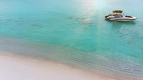 Beautiful tropical Maldives island with white sandy beach and sea in sunshine day for holiday vacation . Beautiful tropical Maldives island with white sandy stock video