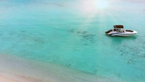 Beautiful tropical Maldives island with white sandy beach and sea in sunshine day for holiday vacation . Beautiful tropical Maldives island with white sandy stock footage