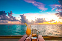 Beautiful tropical Maldives resort hotel with beach and blue wat Stock Image