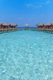 Beautiful tropical Maldives resort hotel with beach and blue water for relax. Stock Photos