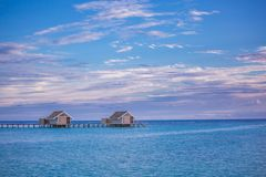 Luxury beach with water bungalows at Maldives royalty free stock photography