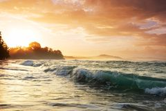 Coast in Costa Rica. Beautiful tropical Pacific Ocean coast in Costa Rica Stock Photo