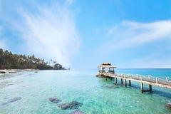 Beautiful tropical paradise beach landscape, island in Thailand. Beautiful tropical paradise beach landscape, island with pier in turquoise water Stock Photos