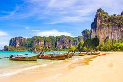 Beautiful tropical paradise Railay beach in Krabi Thailand. Beautiful tropical paradise Railay beach in Krabi inThailand stock photos