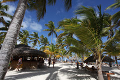 Beautiful tropical resort with beach bar. Beach bar in tropical resort, Punta Cana, Dominican Republic Stock Photo