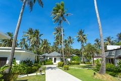 Beautiful tropical resort bungalows Royalty Free Stock Photos
