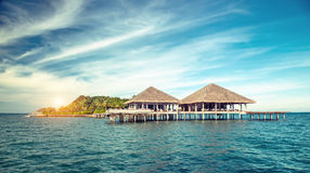 Beautiful tropical resort hotel and island with beach and sea on Stock Image