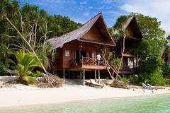 Beautiful tropical resort with wooden bungalows Stock Photo