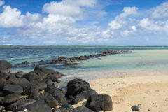 Beautiful tropical rocky beach, Mauritius Stock Photography