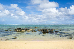 Beautiful tropical rocky beach, Mauritius Stock Images
