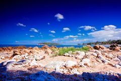 Beautiful tropical rocky beach with rocks on the Royalty Free Stock Photography