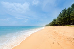 Beautiful tropical sandy beach and calm sea landscape Royalty Free Stock Photos