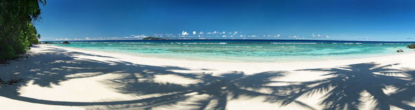 Beautiful tropical sandy beach with shadows of the coconut palm trees. Panorama Stock Image