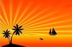 Beautiful tropical scene. Illustration of a beautiful tropical scene Stock Photos