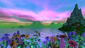 Beautiful Tropical Scene. With flowers as the foreground royalty free illustration