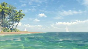 Beautiful tropical scenery. Clear ocean and sandy beach stock footage