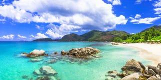 Beautiful tropical scenery. Panoarmic beach, Mahe island, Seychelles Royalty Free Stock Photography