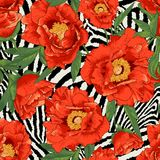 Beautiful tropical seamless flower pattern Stock Images