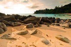 Beautiful tropical seascape rocky seacoast Stock Photos