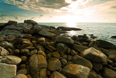 Beautiful tropical seascape rocky seacoast Royalty Free Stock Image