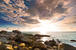 Beautiful tropical seascape rocky seacoast Stock Images
