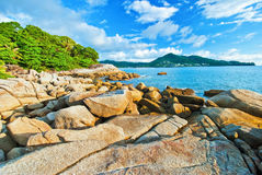 Beautiful tropical seascape rocky seacoast Royalty Free Stock Images