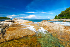Beautiful tropical seascape rocky seacoast,Phuket Island Royalty Free Stock Images