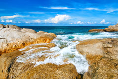 Beautiful tropical seascape rocky seacoast,Phuket Island Stock Photography
