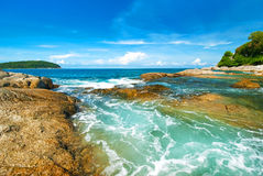 Beautiful tropical seascape rocky seacoast,Phuket Island Royalty Free Stock Image