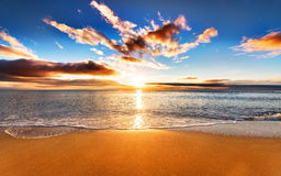 Beautiful tropical sunrise. Beautiful tropical sunrise on the beach Stock Image