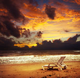 Beautiful tropical sunset on the beach after storm Royalty Free Stock Photography