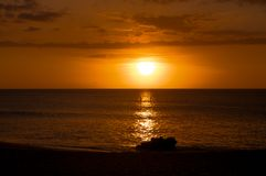 Beautiful tropical sunset at Kaanapali Beach in Maui Hawaii Royalty Free Stock Photography