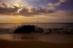 Beautiful tropical sunset at Kaanapali Beach in Maui Hawaii Stock Photos