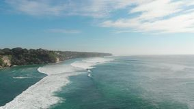 Beautiful tropical turquoise ocean with big waves, aerial video. Beautiful tropical turquoise ocean with big waves, aerial stock video