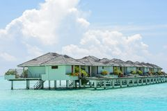 Beautiful tropical view with overwater villas Stock Image