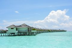 Beautiful tropical view with water villas Stock Photo