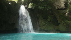 Beautiful tropical waterfall.Kawasan Falls stock video