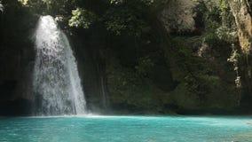 Beautiful tropical waterfall.Kawasan Falls. Waterfall in the jungle.tropical rain forest with waterfall.Waterfall with natural swimming pool in a mountain river stock footage
