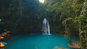 Beautiful tropical waterfall. Kawasan Falls. Philippines Cebu island. stock video footage