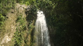 Beautiful tropical waterfall. Philippines Cebu island. Waterfall in green forest in jungle. Beautiful waterfall in the mountains. Tropical rain forest with stock footage