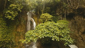 Beautiful tropical waterfall. Philippines Siargao island. stock footage