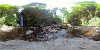 Beautiful tropical waterfall. vr360 Bali,Indonesia. royalty free stock images