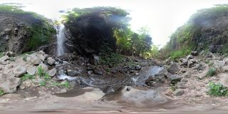 Beautiful tropical waterfall. vr360 Bali,Indonesia. royalty free stock photography