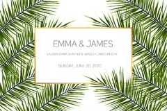 Beautiful tropical wedding invitation. Trendy summer tropical leaves design. Wedding event invitation card template. Exotic tropical jungle rainforest bright Stock Photos