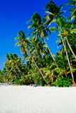 Beautiful tropical white sand beach with coconut palms and people on the beach Stock Photo